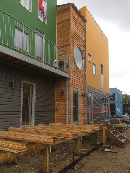 Bille Arc træhuse byggeri på Musicon